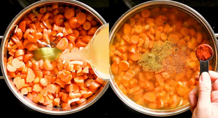 cook carrot with broth and seasoning