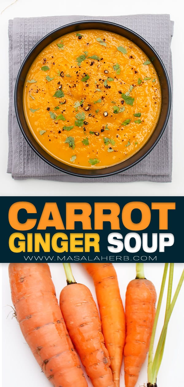 Spiced Carrot Ginger Soup Recipe pin image