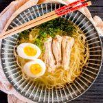chicken ramen noodle soup bird's eyes view