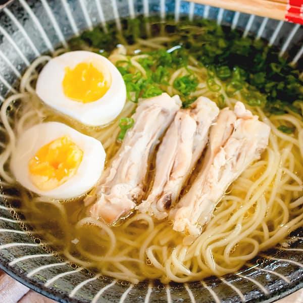 chicken ramen and egg soup