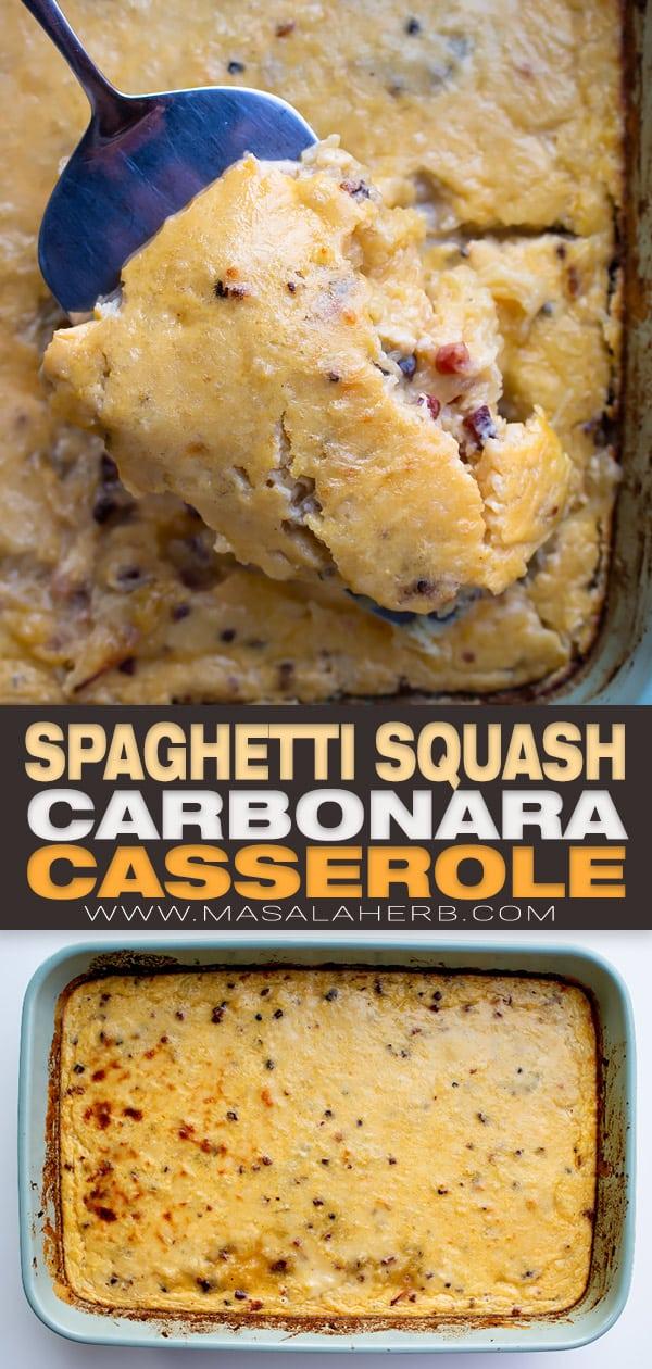 Baked Spaghetti Squash Carbonara Casserole pin image
