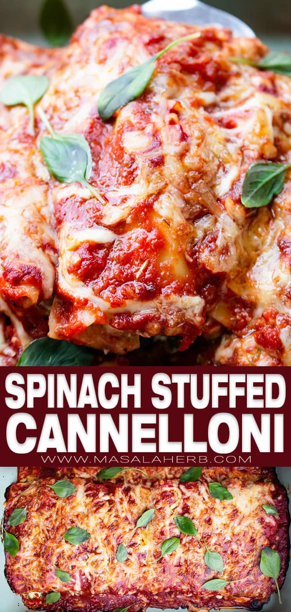 Baked Cannelloni with Spinach Recipe pin image