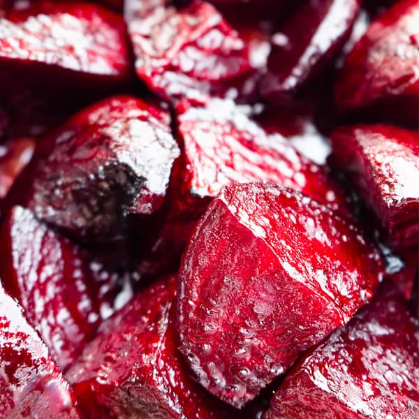 roasted beets close up