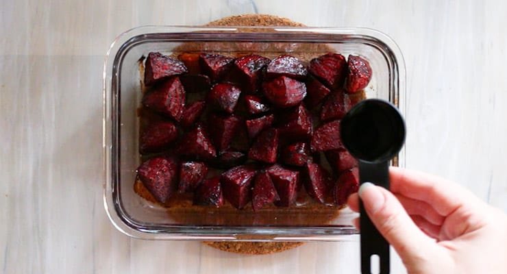 mix balsamic vinegar into roasted beets