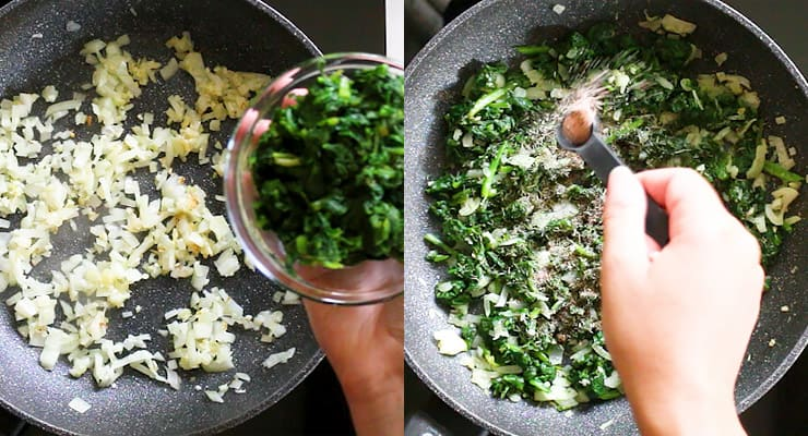 saute onion and spinach