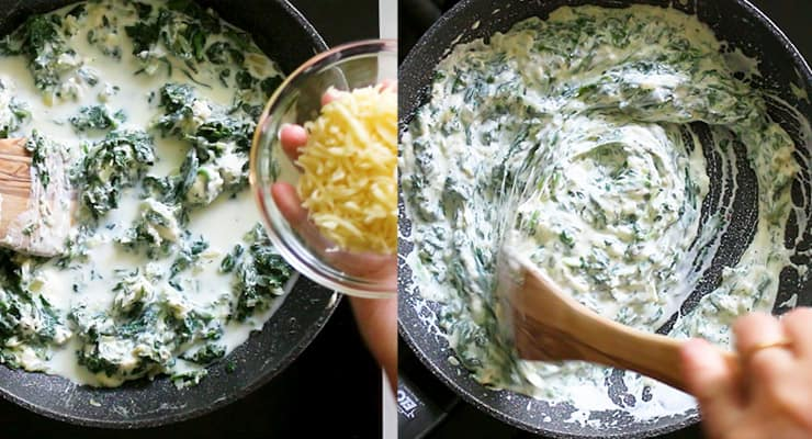 add cheese and cream cheese to spinach
