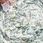 creamed spinach with cream cheese close up