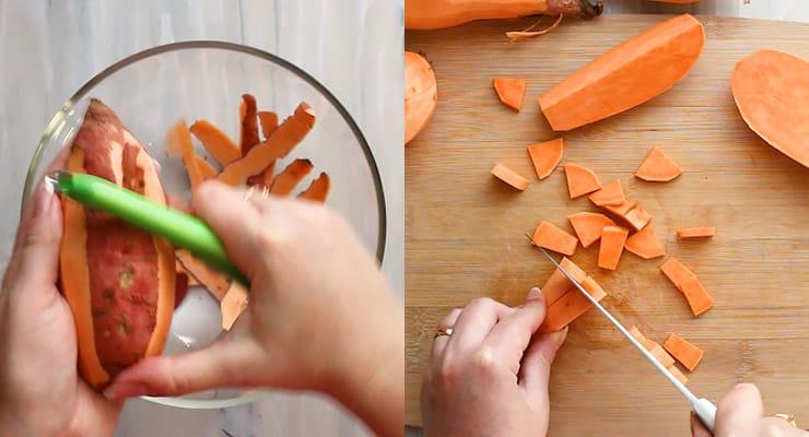 peel and cut sweet potatoes