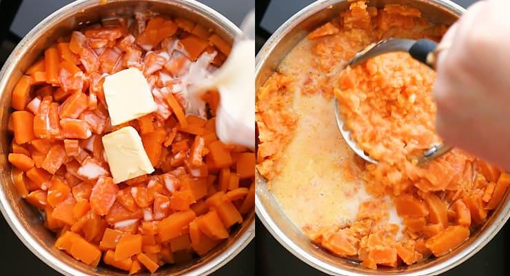 season sweet potatoes and mash