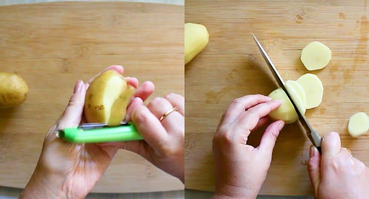 peel potatoes and slice