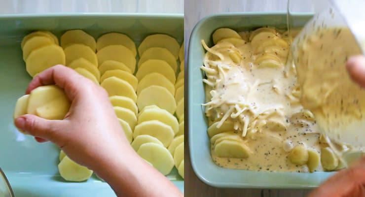 arrange potato slices and pour filling over