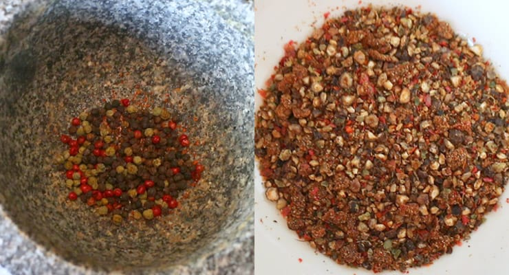 grind spices in mortar and pestle