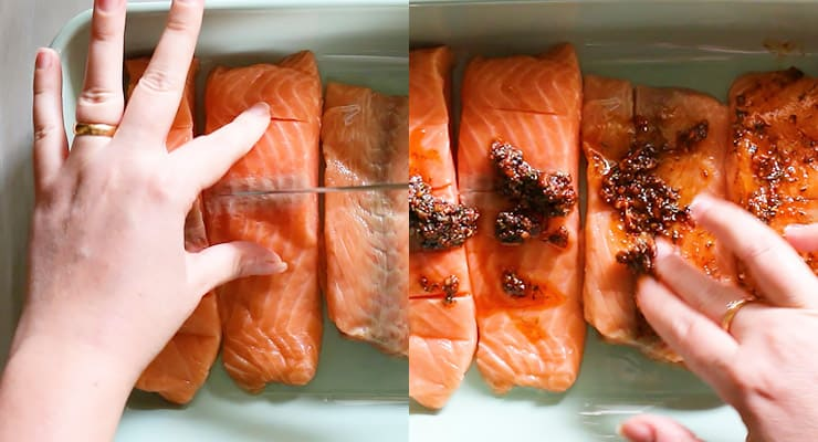 cut salmon in and spread seasoning over the fish