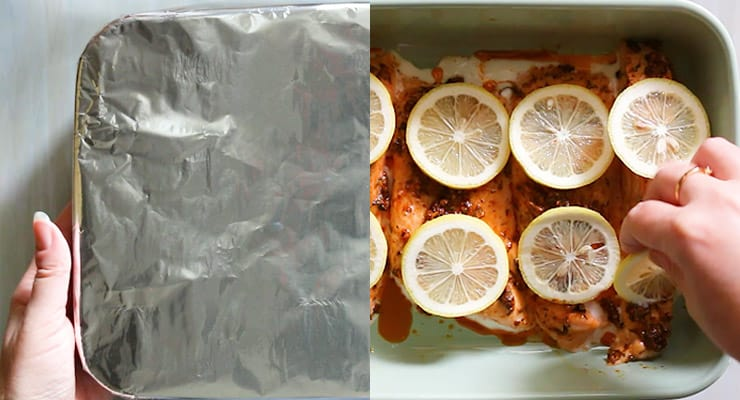 cover with tin foil and bake, garnish with lemon slices.