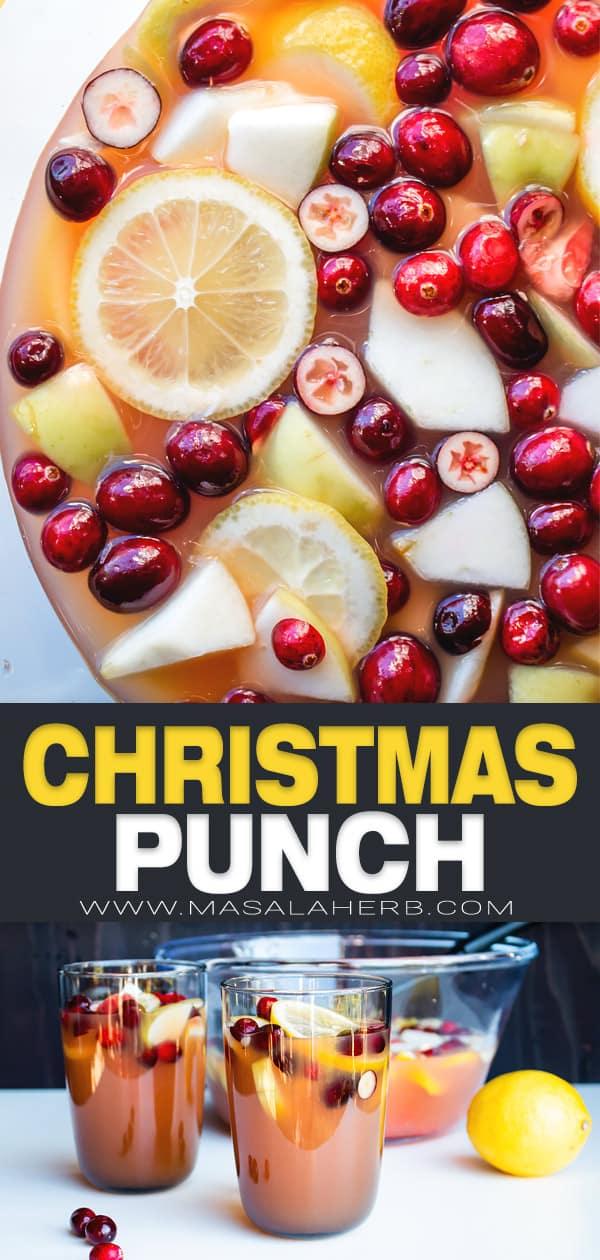 christmas punch recipe pin image
