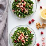 winter kale salad in bowls