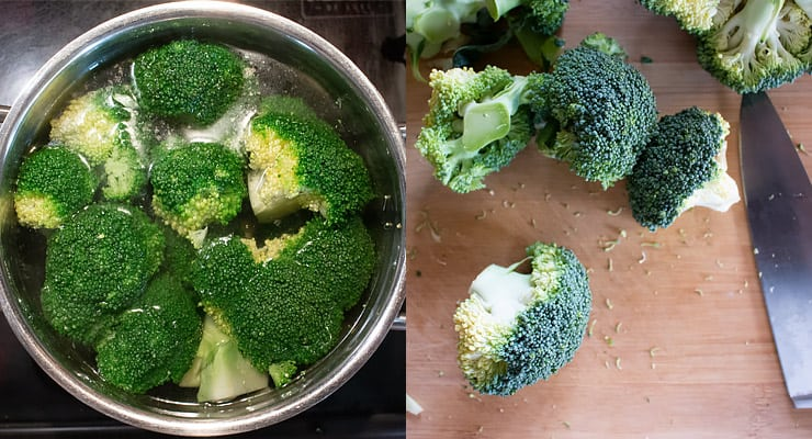 cut broccoli and cook