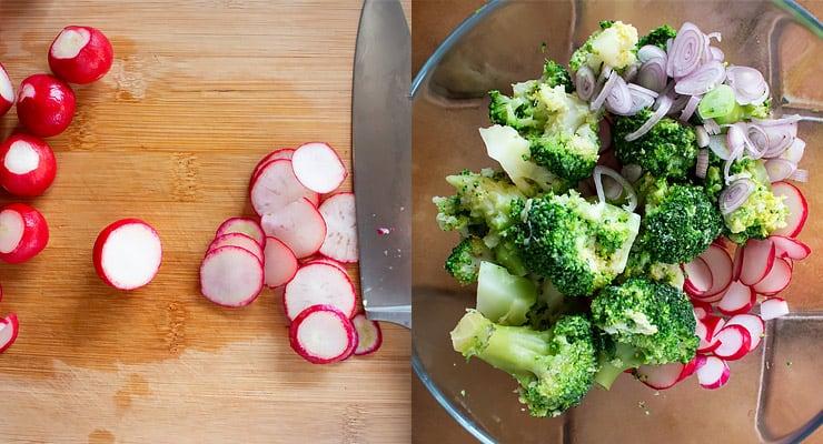 slice radish and other salad ingredients