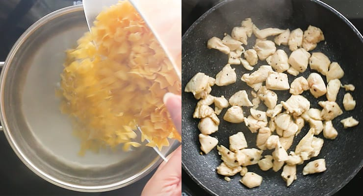 cook pasta and chicken
