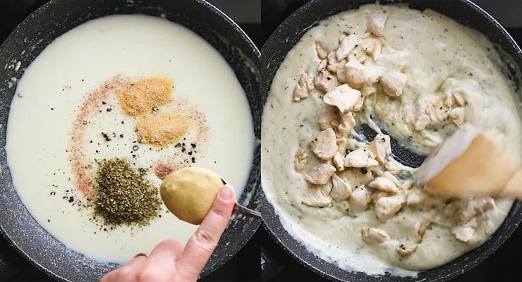 season sauce and add chicken