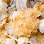 close up of chicken pasta bake