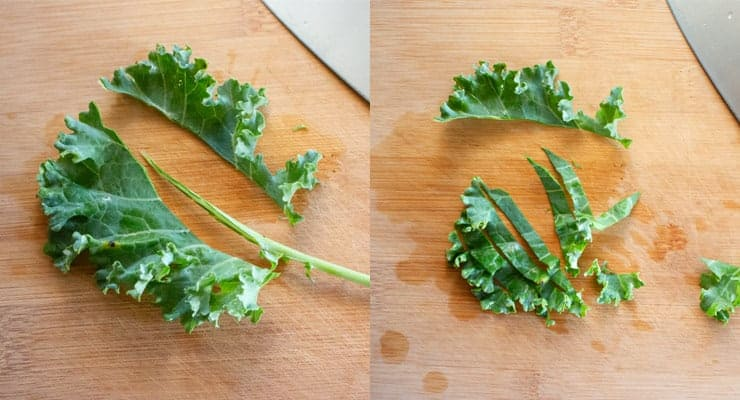 cut kale leaves from the stem