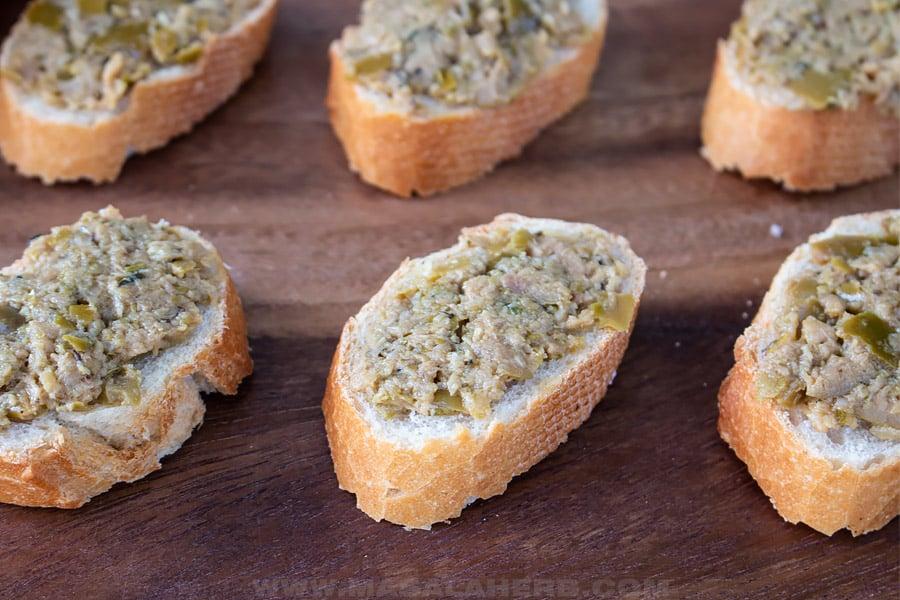 tapenade spread with bread