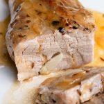 cooked pork tenderloin cut in slices