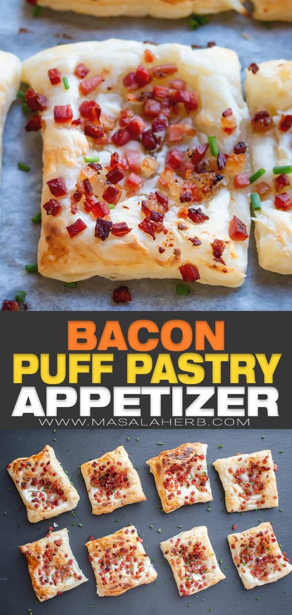 bacon puff pastry appetizer pin image