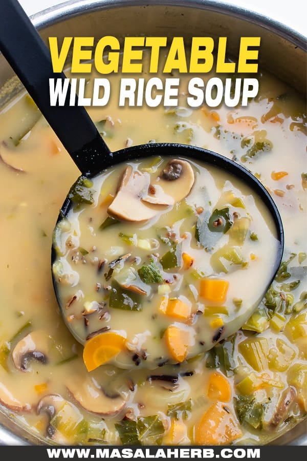 homemade wild rice soup with veggies