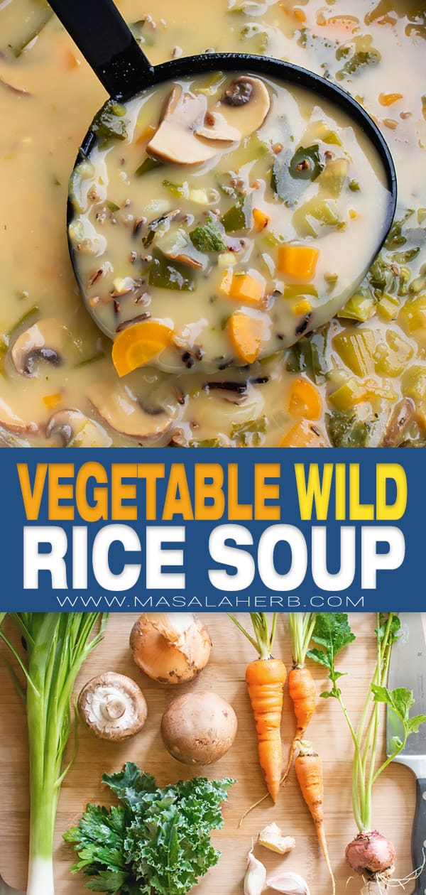 Vegetable Wild Rice Soup Recipe pin image