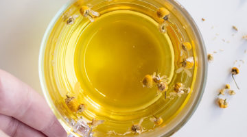 bird's eyes view of chamomile tea