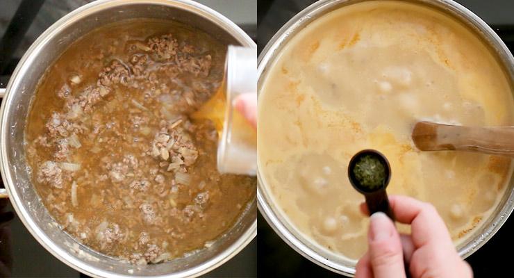 pour broth to ground beef, season