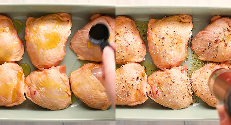 pour olive oil and sprinkle seasoning over chicken thighs