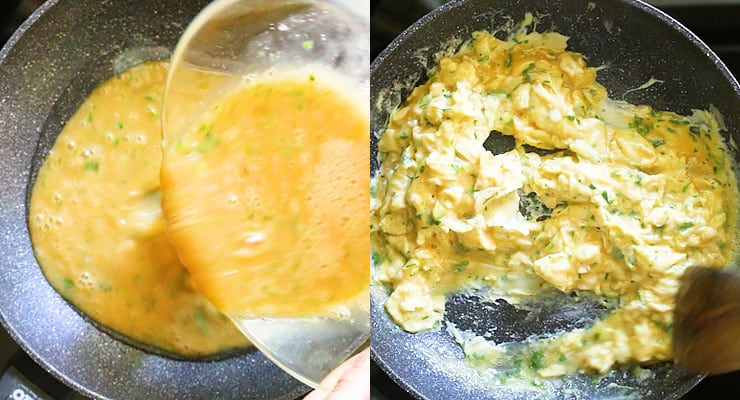 pour eggs into skillet and scramble