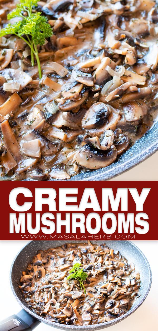 creamy mushrooms pin image