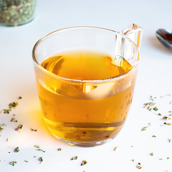 home brewed hot oregano tea
