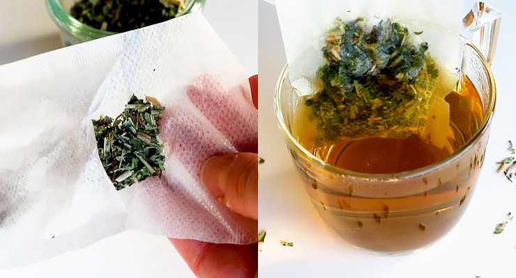fill tea bag with oregano and infuse boiled water with it