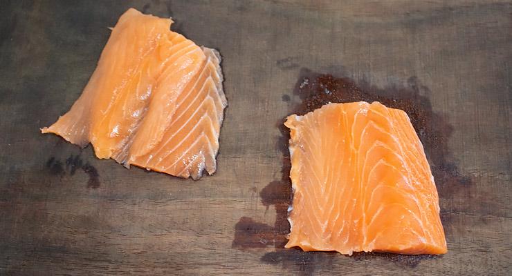 slice raw salmon fillet