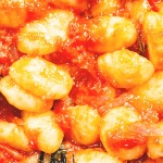 close up of gnocchi pomodoro dish