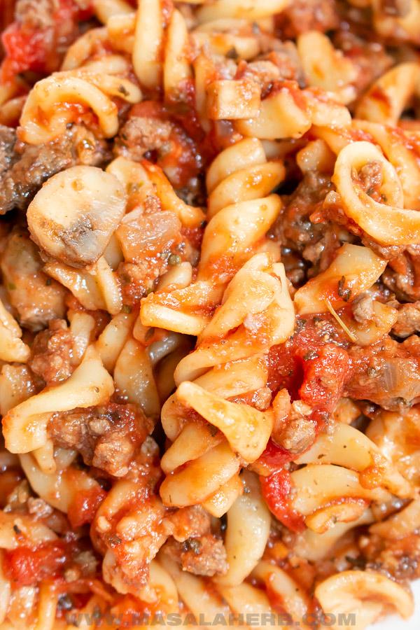 cose up of johnny marzetti dish