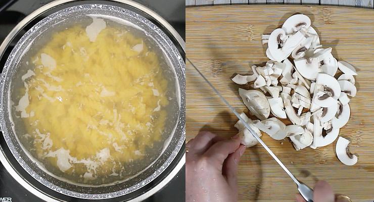cook noodles and slice mushroom