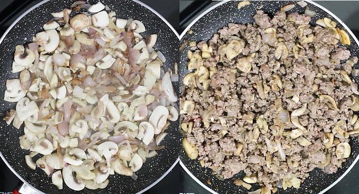 saute onion, mushroom and ground beef