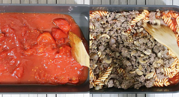 spread canned peeled tomato in casserole dish and stir in pasta and ground beef
