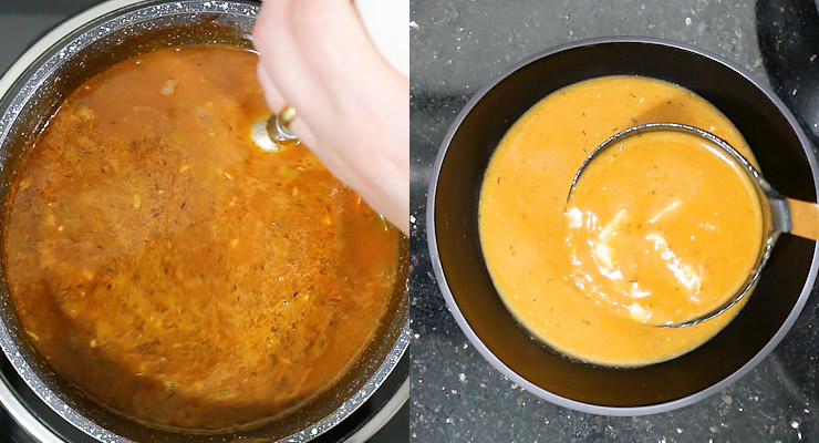 blend bisque and add lobster chunks