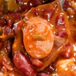 close up sausage in red beans stew