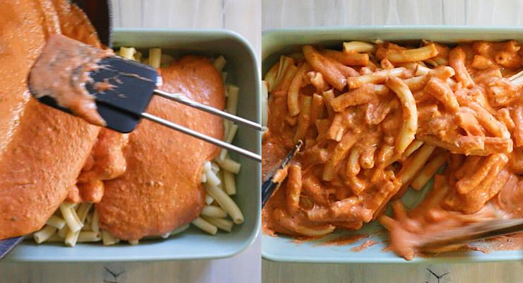 combine ziti with marinara cheese sauce in the baking dish