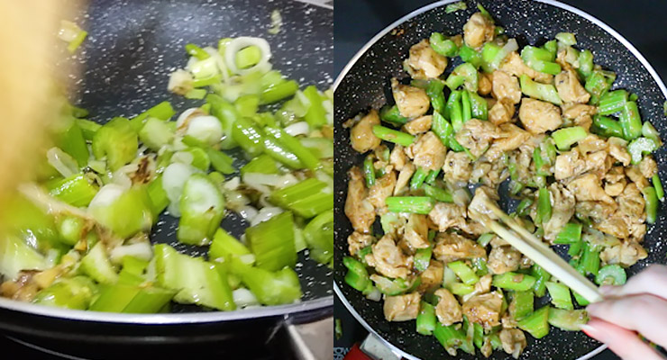 stir cook produce and chicken