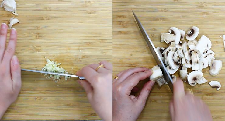 chop garlic and slice mushrooms