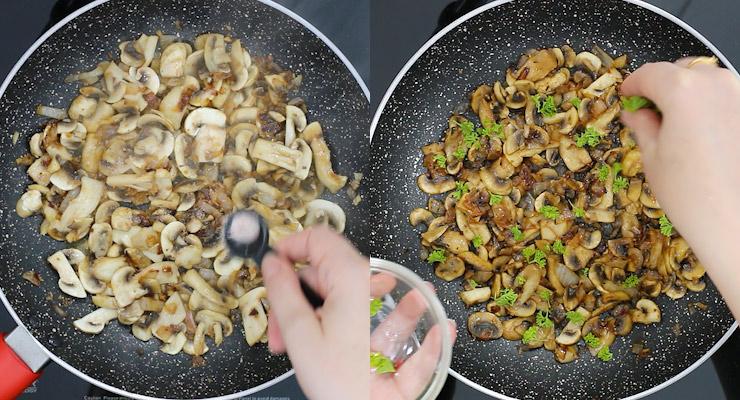 season mushrooms and garnish with greens